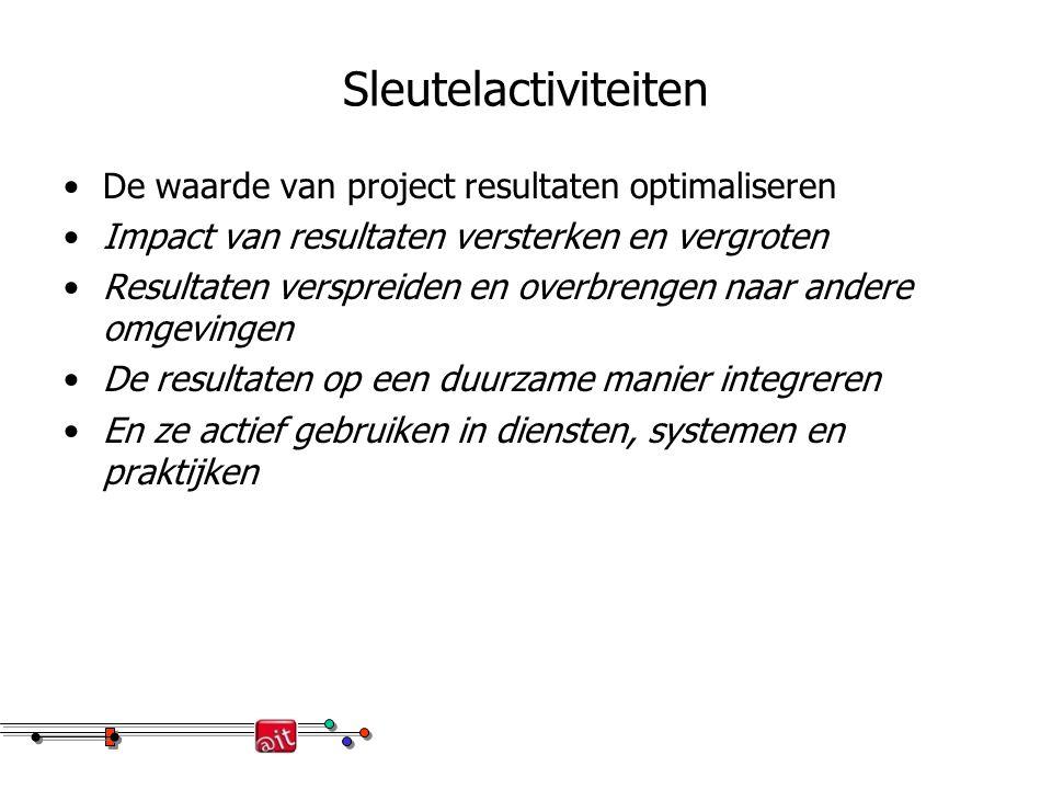 Sleutelactiviteiten De waarde van project resultaten optimaliseren Impact van resultaten versterken en vergroten Resultaten verspreiden en overbrengen naar andere omgevingen De resultaten op een duurzame manier integreren En ze actief gebruiken in diensten, systemen en praktijken