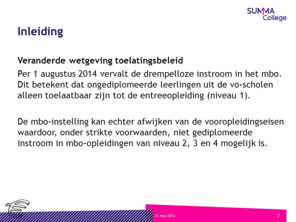 221 mei 2014 Inleiding Veranderde wetgeving toelatingsbeleid Per 1 augustus 2014 vervalt de drempelloze instroom in het mbo.