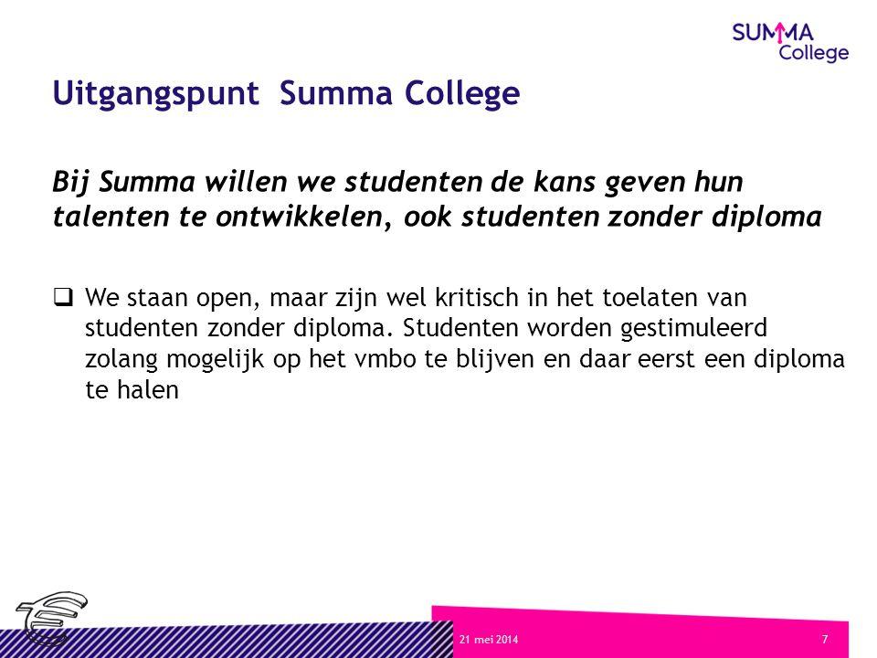 721 mei 2014 Uitgangspunt Summa College Bij Summa willen we studenten de kans geven hun talenten te ontwikkelen, ook studenten zonder diploma  We staan open, maar zijn wel kritisch in het toelaten van studenten zonder diploma.