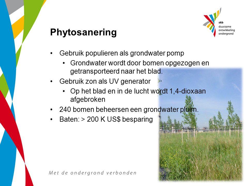 Gebruik populieren als grondwater pomp Grondwater wordt door bomen opgezogen en getransporteerd naar het blad. Gebruik zon als UV generator Op het bla