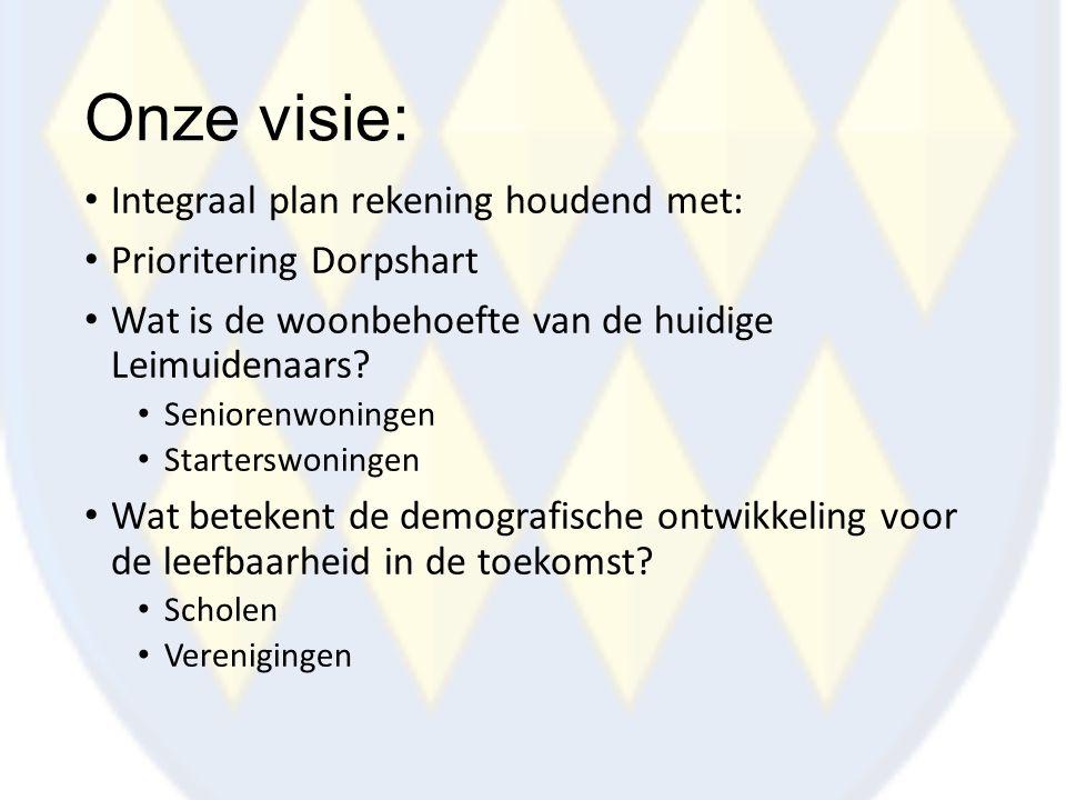 Onze visie: Integraal plan rekening houdend met: Prioritering Dorpshart Wat is de woonbehoefte van de huidige Leimuidenaars? Seniorenwoningen Starters