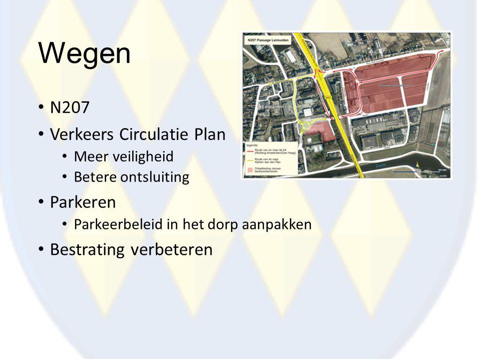 Wegen N207 Verkeers Circulatie Plan Meer veiligheid Betere ontsluiting Parkeren Parkeerbeleid in het dorp aanpakken Bestrating verbeteren