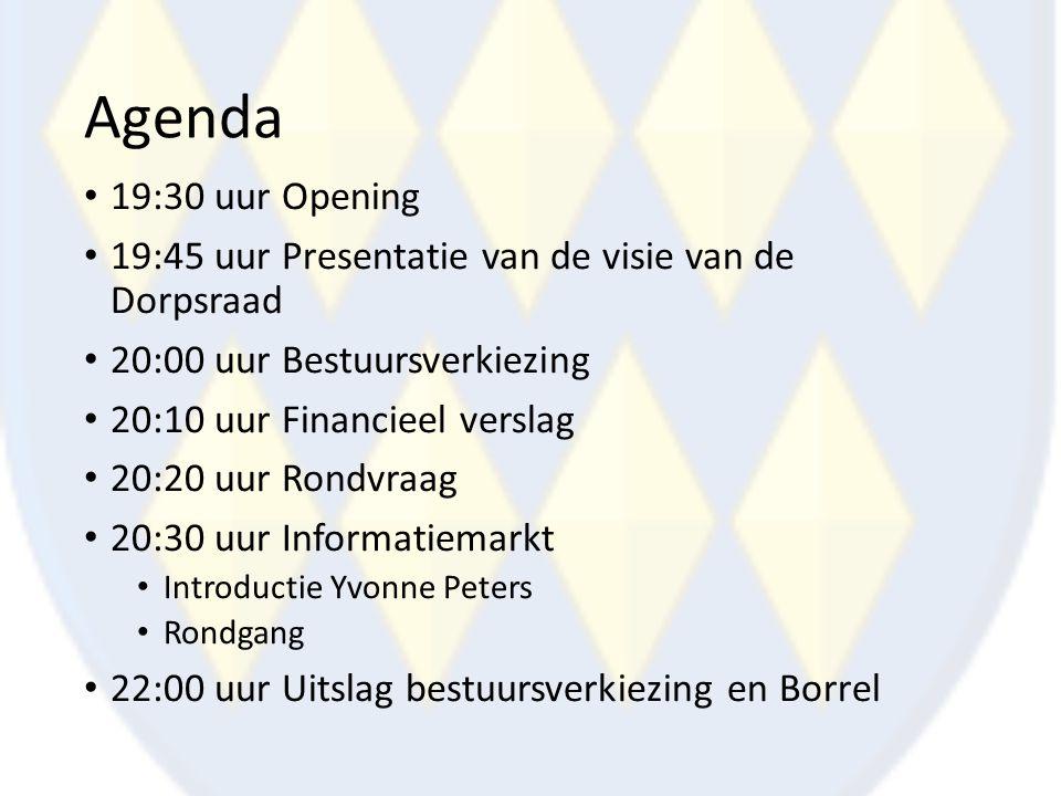 Agenda 19:30 uur Opening 19:45 uur Presentatie van de visie van de Dorpsraad 20:00 uur Bestuursverkiezing 20:10 uur Financieel verslag 20:20 uur Rondv