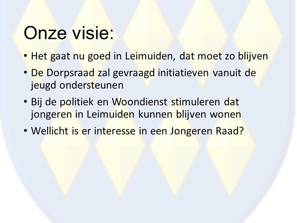 Onze visie: Het gaat nu goed in Leimuiden, dat moet zo blijven De Dorpsraad zal gevraagd initiatieven vanuit de jeugd ondersteunen Bij de politiek en