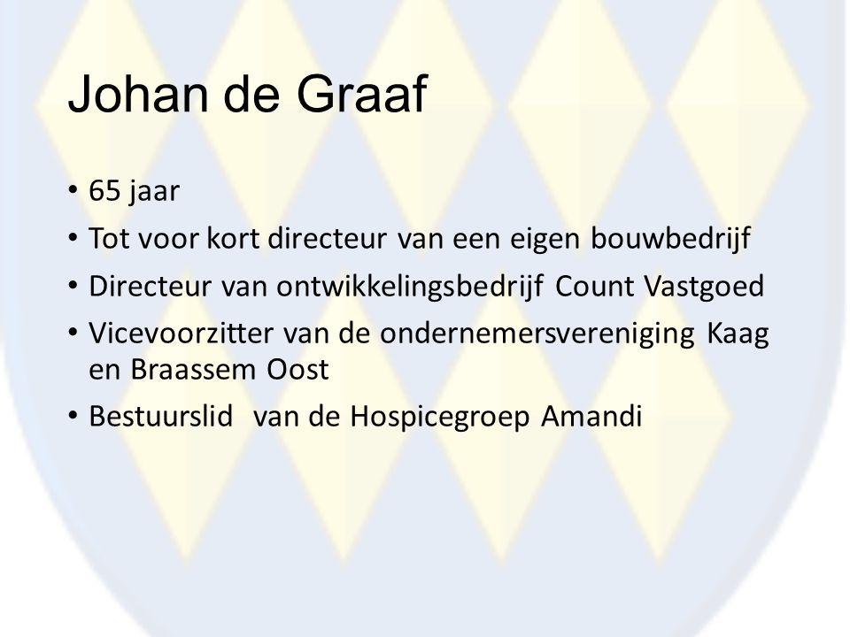 Johan de Graaf 65 jaar Tot voor kort directeur van een eigen bouwbedrijf Directeur van ontwikkelingsbedrijf Count Vastgoed Vicevoorzitter van de onder