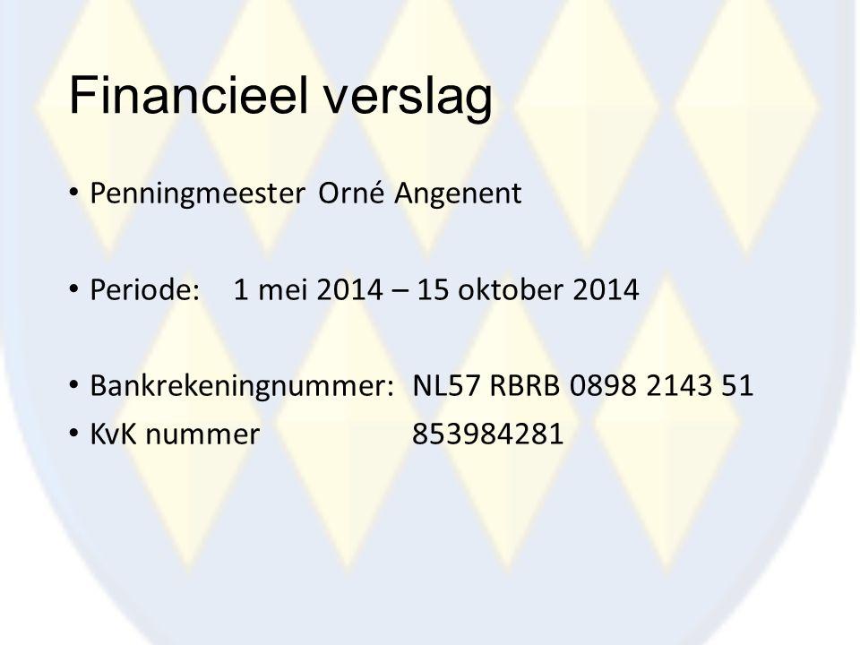Financieel verslag Penningmeester Orné Angenent Periode: 1 mei 2014 – 15 oktober 2014 Bankrekeningnummer:NL57 RBRB 0898 2143 51 KvK nummer853984281