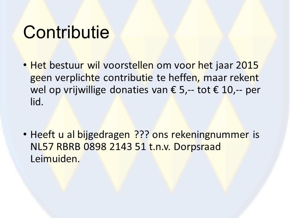 Contributie Het bestuur wil voorstellen om voor het jaar 2015 geen verplichte contributie te heffen, maar rekent wel op vrijwillige donaties van € 5,-