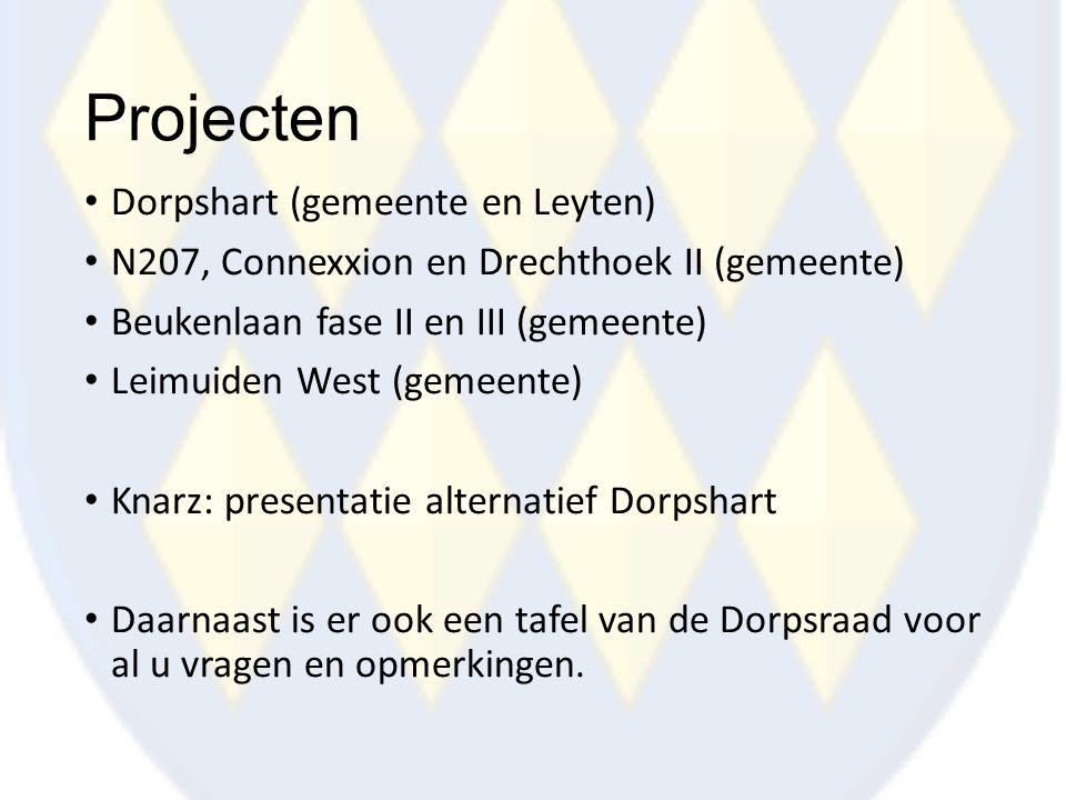 Projecten Dorpshart (gemeente en Leyten) N207, Connexxion en Drechthoek II (gemeente) Beukenlaan fase II en III (gemeente) Leimuiden West (gemeente) K