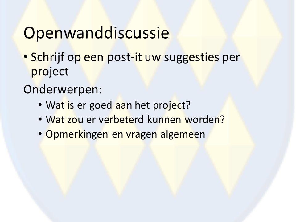 Openwanddiscussie Schrijf op een post-it uw suggesties per project Onderwerpen: Wat is er goed aan het project? Wat zou er verbeterd kunnen worden? Op