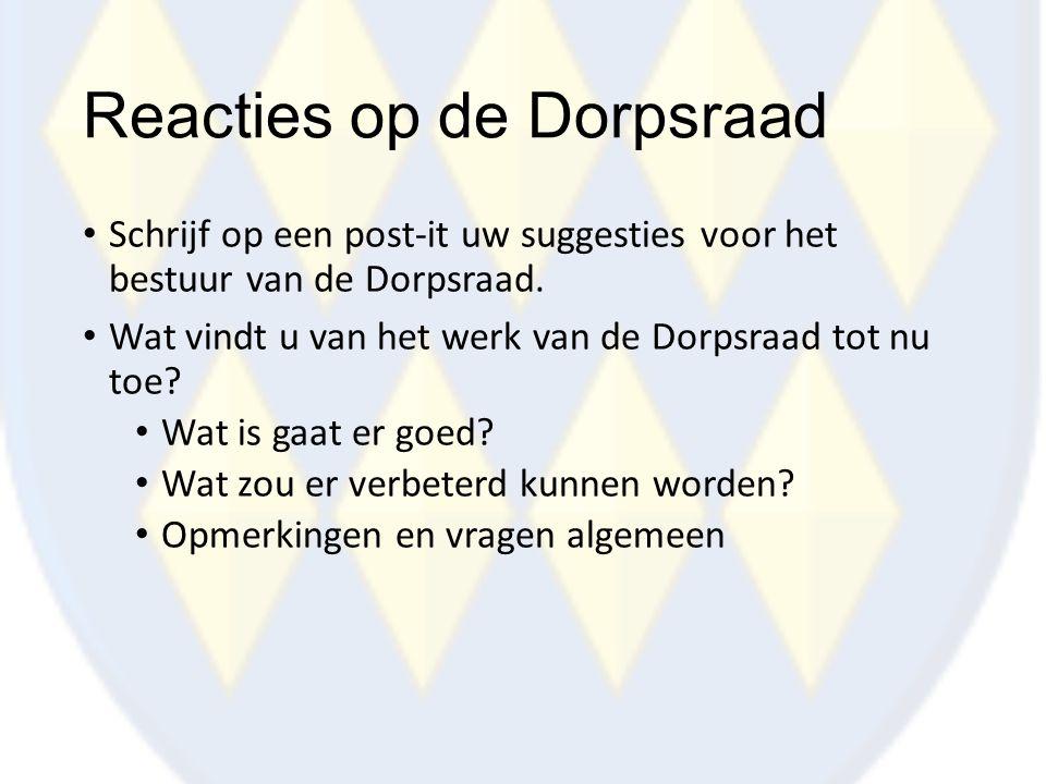 Reacties op de Dorpsraad Schrijf op een post-it uw suggesties voor het bestuur van de Dorpsraad. Wat vindt u van het werk van de Dorpsraad tot nu toe?
