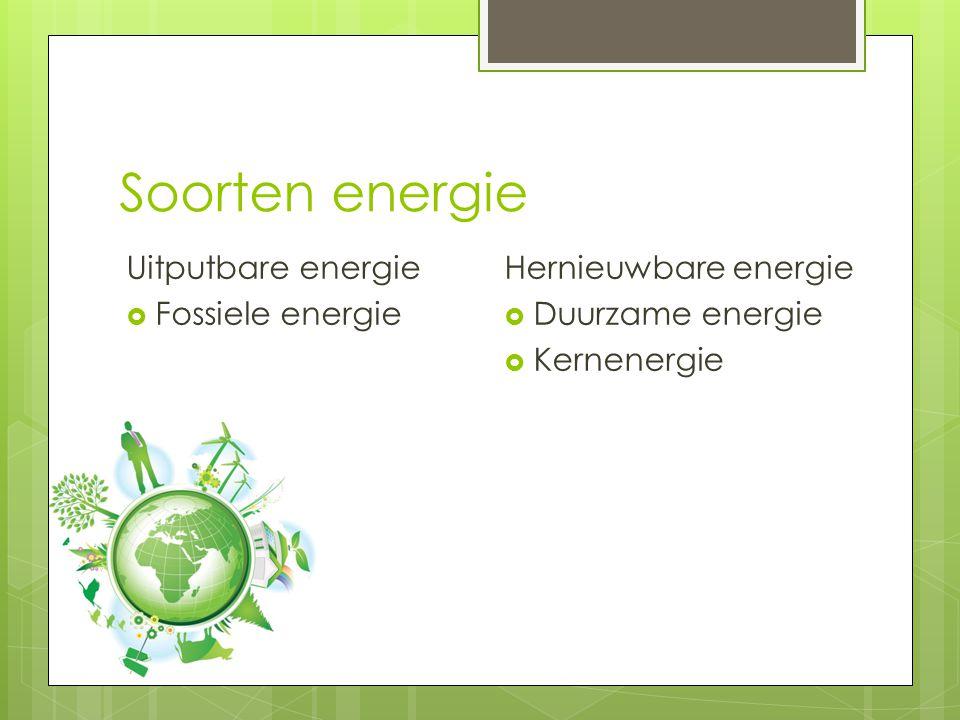 Soorten energie Uitputbare energie  Fossiele energie Hernieuwbare energie  Duurzame energie  Kernenergie