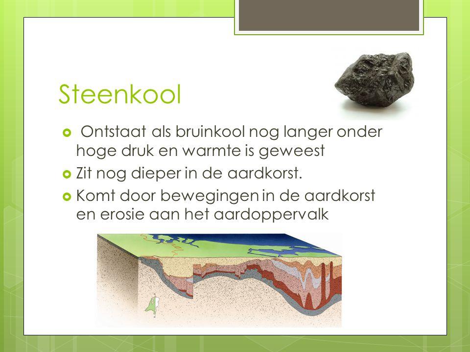 Steenkool  Ontstaat als bruinkool nog langer onder hoge druk en warmte is geweest  Zit nog dieper in de aardkorst.