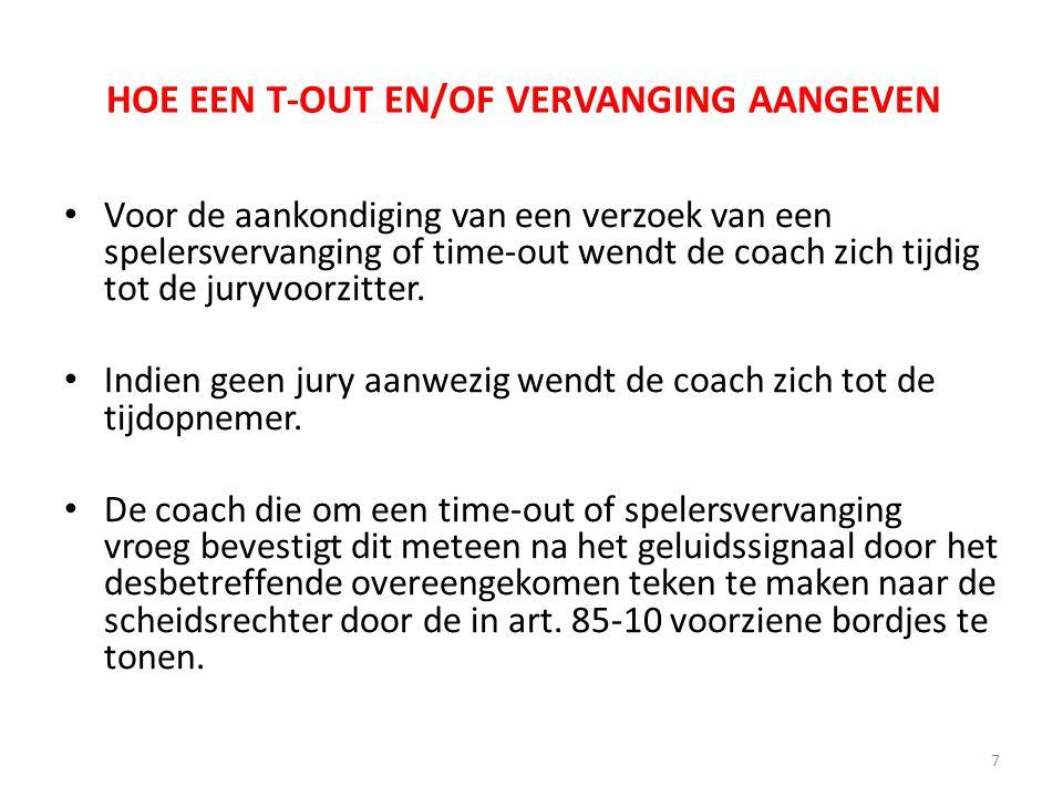 HOE EEN T-OUT EN/OF VERVANGING AANGEVEN Voor de aankondiging van een verzoek van een spelersvervanging of time-out wendt de coach zich tijdig tot de j