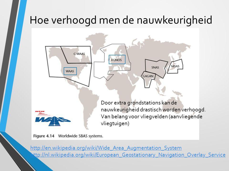 Hoe verhoogd men de nauwkeurigheid http://en.wikipedia.org/wiki/Wide_Area_Augmentation_System http://nl.wikipedia.org/wiki/European_Geostationary_Navi