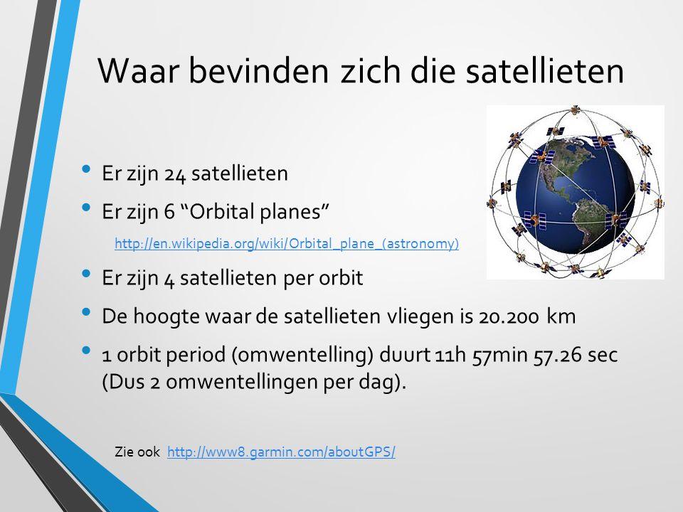 """Waar bevinden zich die satellieten Er zijn 24 satellieten Er zijn 6 """"Orbital planes"""" http://en.wikipedia.org/wiki/Orbital_plane_(astronomy) Er zijn 4"""
