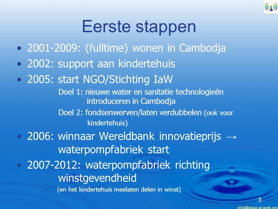 info@ideas-at-work.org Eerste stappen 2001-2009: (fulltime) wonen in Cambodja 2002: support aan kindertehuis 2005: start NGO/Stichting IaW Doel 1: nieuwe water en sanitatie technologieën introduceren in Cambodja Doel 2: fondsenwerven/laten verdubbelen (ook voor kindertehuis) 2006: winnaar Wereldbank innovatieprijs → waterpompfabriek start 2007-2012: waterpompfabriek richting winstgevendheid (en het kindertehuis meelaten delen in winst) 3