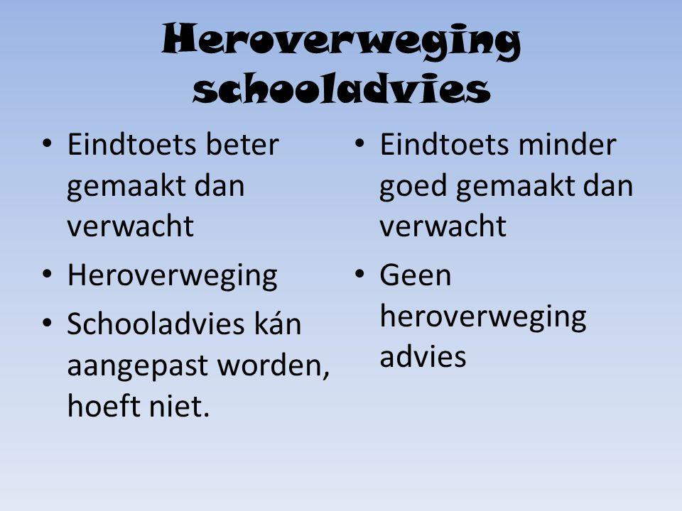 Heroverweging schooladvies Eindtoets beter gemaakt dan verwacht Heroverweging Schooladvies kán aangepast worden, hoeft niet.