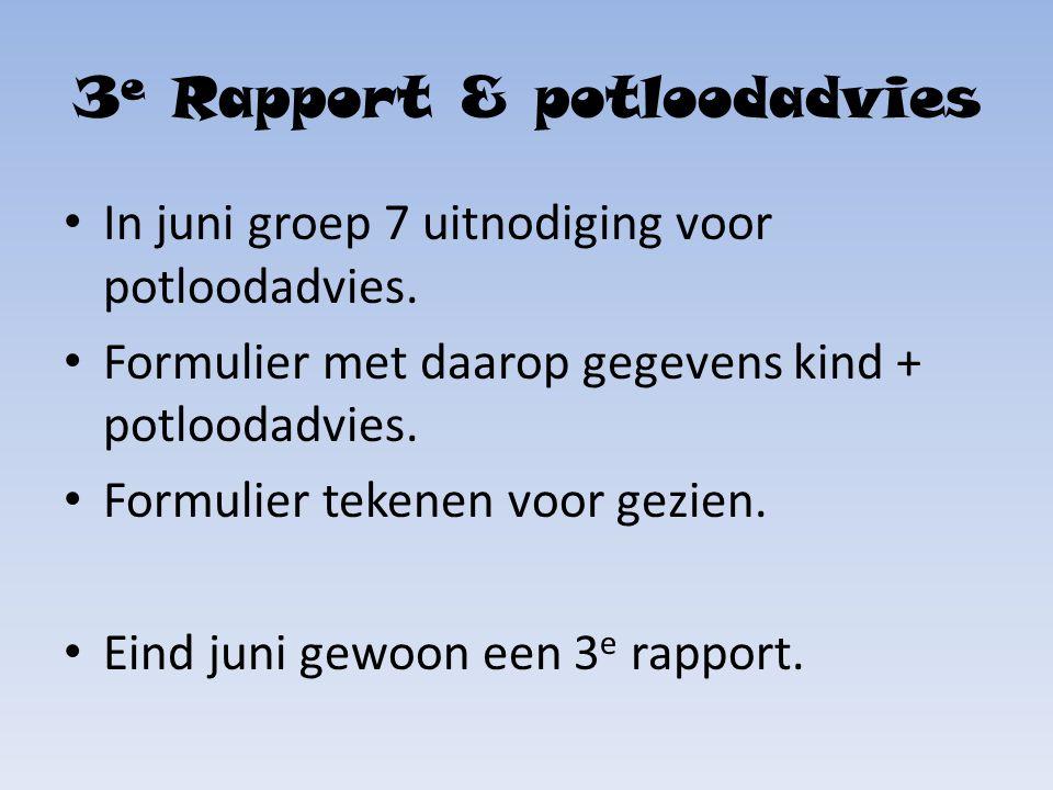 3 e Rapport & potloodadvies In juni groep 7 uitnodiging voor potloodadvies.