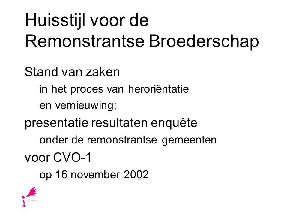 Huisstijl voor de Remonstrantse Broederschap Stand van zaken in het proces van heroriëntatie en vernieuwing; presentatie resultaten enquête onder de remonstrantse gemeenten voor CVO-1 op 16 november 2002