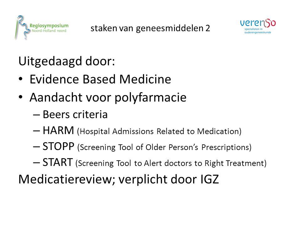 Uitgedaagd door: Evidence Based Medicine Aandacht voor polyfarmacie – Beers criteria – HARM (Hospital Admissions Related to Medication) – STOPP (Scree