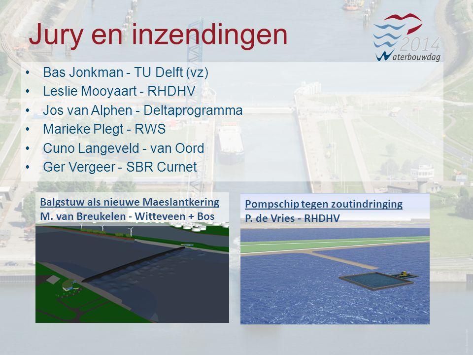 Jury en inzendingen Bas Jonkman - TU Delft (vz) Leslie Mooyaart - RHDHV Jos van Alphen - Deltaprogramma Marieke Plegt - RWS Cuno Langeveld - van Oord Ger Vergeer - SBR Curnet Pompschip tegen zoutindringing P.