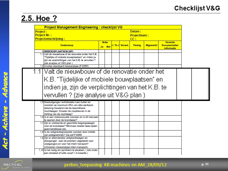 11 prebes_toepassing KB machines en AM_28/09/12 Act – Achieve - Advance p. 11 2.5. Hoe ? Checklijst V&G