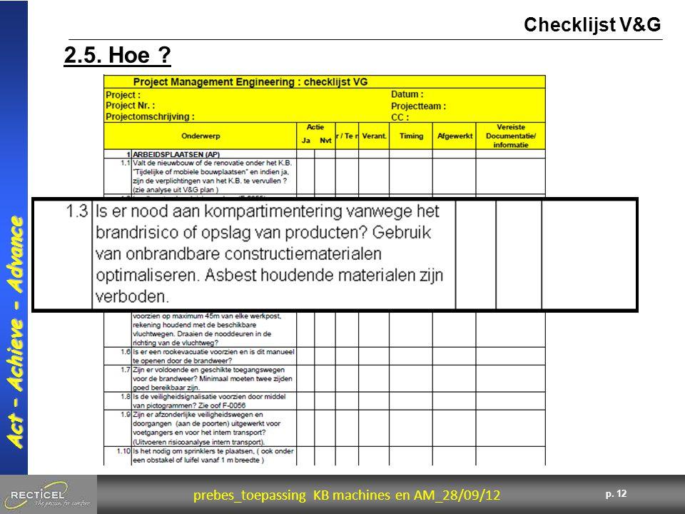 12 prebes_toepassing KB machines en AM_28/09/12 Act – Achieve - Advance p. 12 2.5. Hoe ? Checklijst V&G