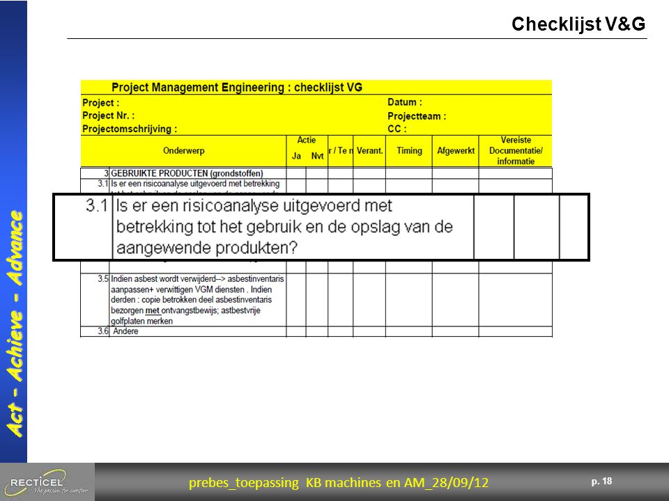 18 prebes_toepassing KB machines en AM_28/09/12 Act – Achieve - Advance p. 18 Checklijst V&G