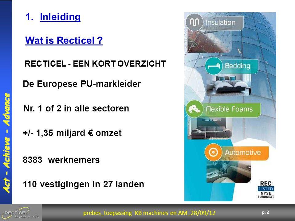 2 prebes_toepassing KB machines en AM_28/09/12 Act – Achieve - Advance p. 2 De Europese PU-markleider Nr. 1 of 2 in alle sectoren +/- 1,35 miljard € o