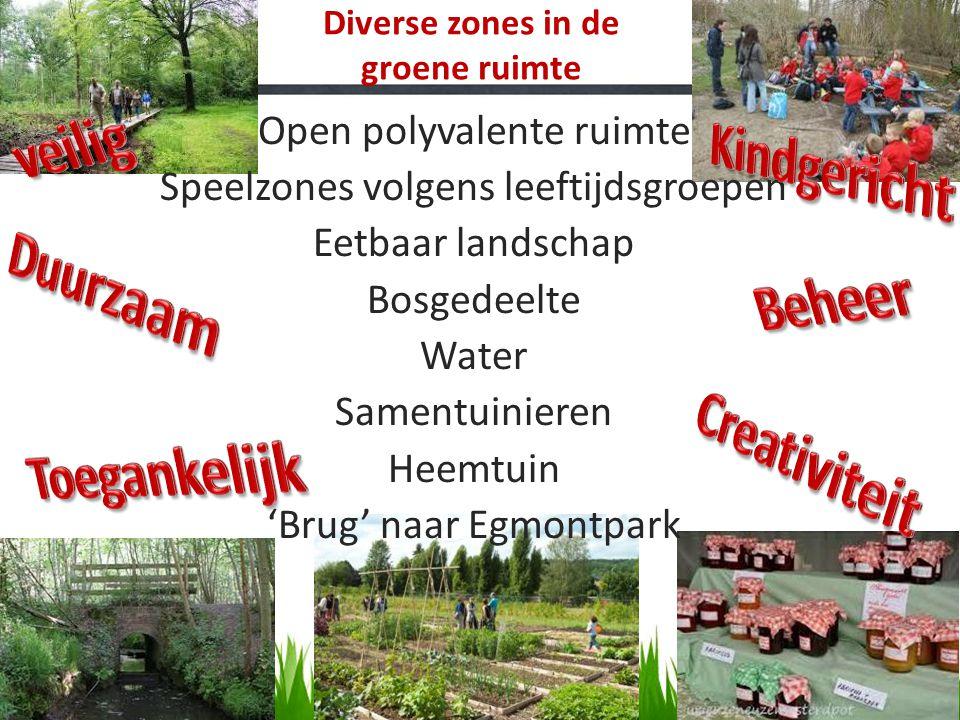 Diverse zones in de groene ruimte Open polyvalente ruimte Speelzones volgens leeftijdsgroepen Eetbaar landschap Bosgedeelte Water Samentuinieren Heemt