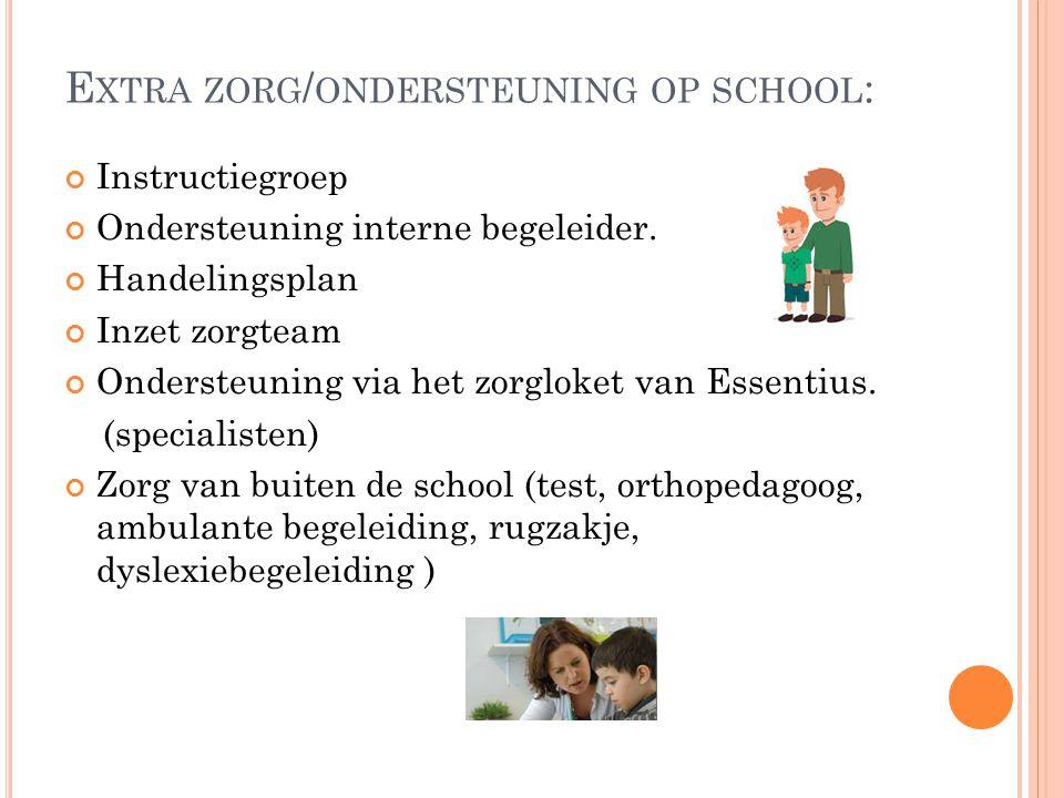 E XTRA ZORG / ONDERSTEUNING OP SCHOOL : Instructiegroep Ondersteuning interne begeleider.