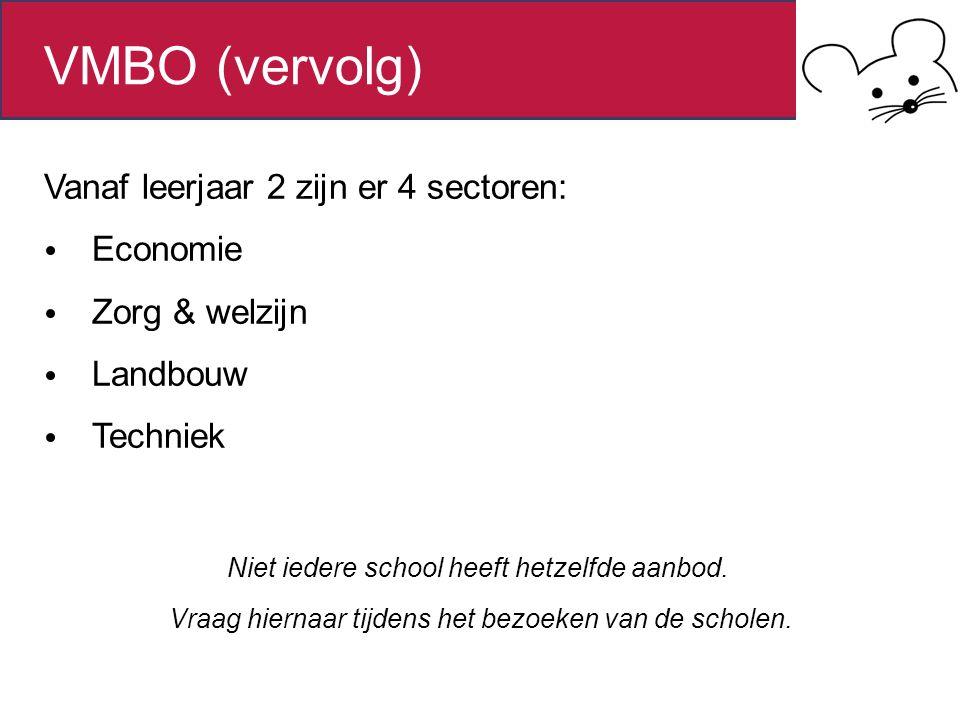 Vanaf leerjaar 2 zijn er 4 sectoren: Economie Zorg & welzijn Landbouw Techniek Niet iedere school heeft hetzelfde aanbod. Vraag hiernaar tijdens het b