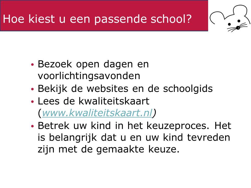 Hoe kiest u een passende school? Bezoek open dagen en voorlichtingsavonden Bekijk de websites en de schoolgids Lees de kwaliteitskaart (www.kwaliteits
