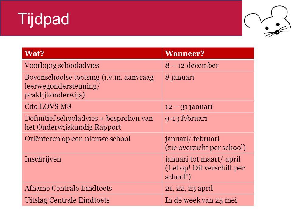 Tijdpad Wat?Wanneer.Voorlopig schooladvies8 – 12 december Bovenschoolse toetsing (i.v.m.
