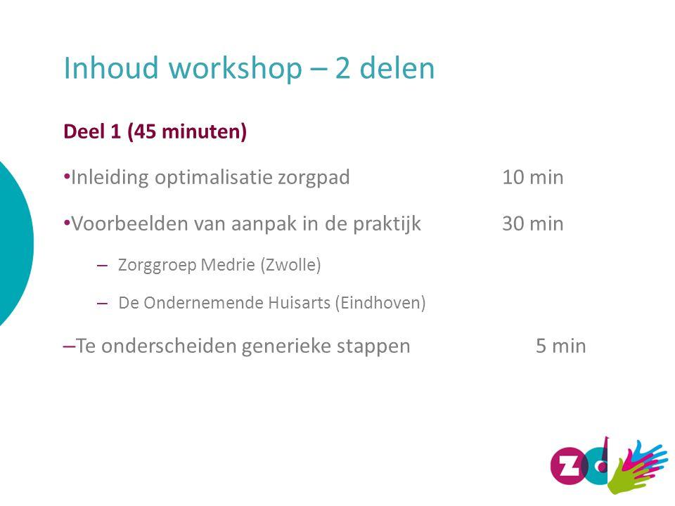Inhoud workshop – 2 delen Deel 1 (45 minuten) Inleiding optimalisatie zorgpad10 min Voorbeelden van aanpak in de praktijk 30 min – Zorggroep Medrie (Zwolle) – De Ondernemende Huisarts (Eindhoven) – Te onderscheiden generieke stappen5 min