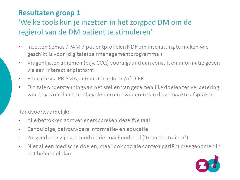 Resultaten groep 1 'Welke tools kun je inzetten in het zorgpad DM om de regierol van de DM patient te stimuleren' Inzetten Semas / PAM / patiëntprofie