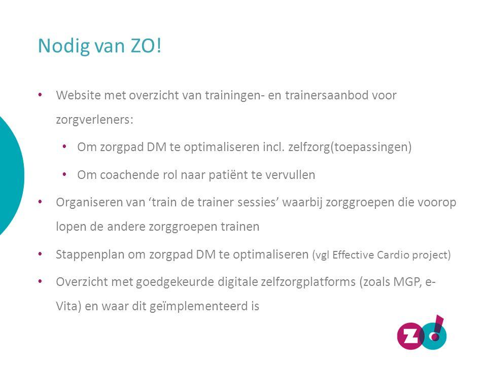 Nodig van ZO! Website met overzicht van trainingen- en trainersaanbod voor zorgverleners: Om zorgpad DM te optimaliseren incl. zelfzorg(toepassingen)