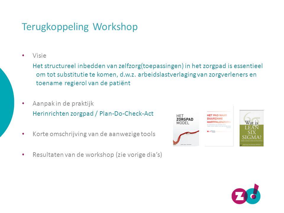 Terugkoppeling Workshop Visie Het structureel inbedden van zelfzorg(toepassingen) in het zorgpad is essentieel om tot substitutie te komen, d.w.z.