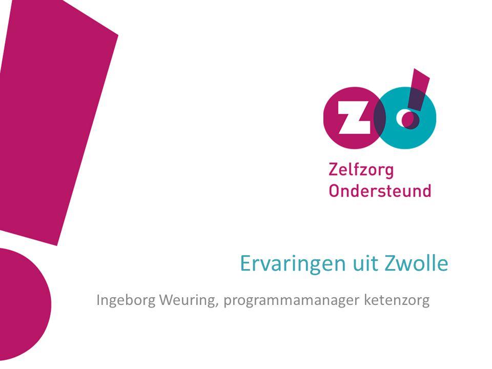 Ervaringen uit Zwolle Ingeborg Weuring, programmamanager ketenzorg