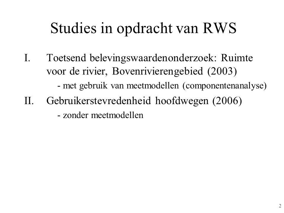 2 Studies in opdracht van RWS I.Toetsend belevingswaardenonderzoek: Ruimte voor de rivier, Bovenrivierengebied (2003) - met gebruik van meetmodellen (