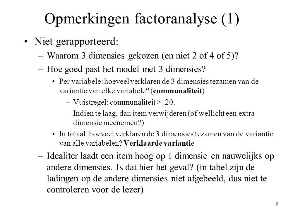 9 Opmerkingen factoranalyse (2) Principale componentenanalyse met varimax rotatie Dus feitelijk: componentenanalyse, geen factoranalyse Varimax rotatie: dit betekent per definitie (door het model opgelegd) dat de samenhang tussen de gevonden dimensies nul is.