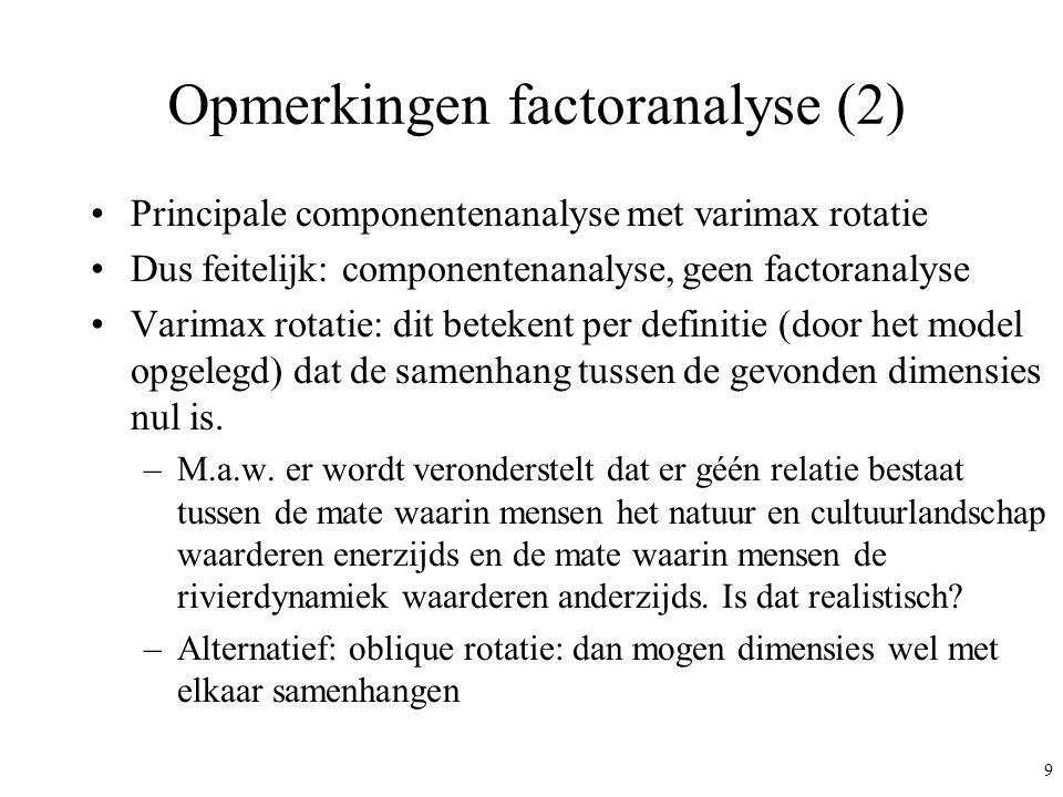 9 Opmerkingen factoranalyse (2) Principale componentenanalyse met varimax rotatie Dus feitelijk: componentenanalyse, geen factoranalyse Varimax rotati
