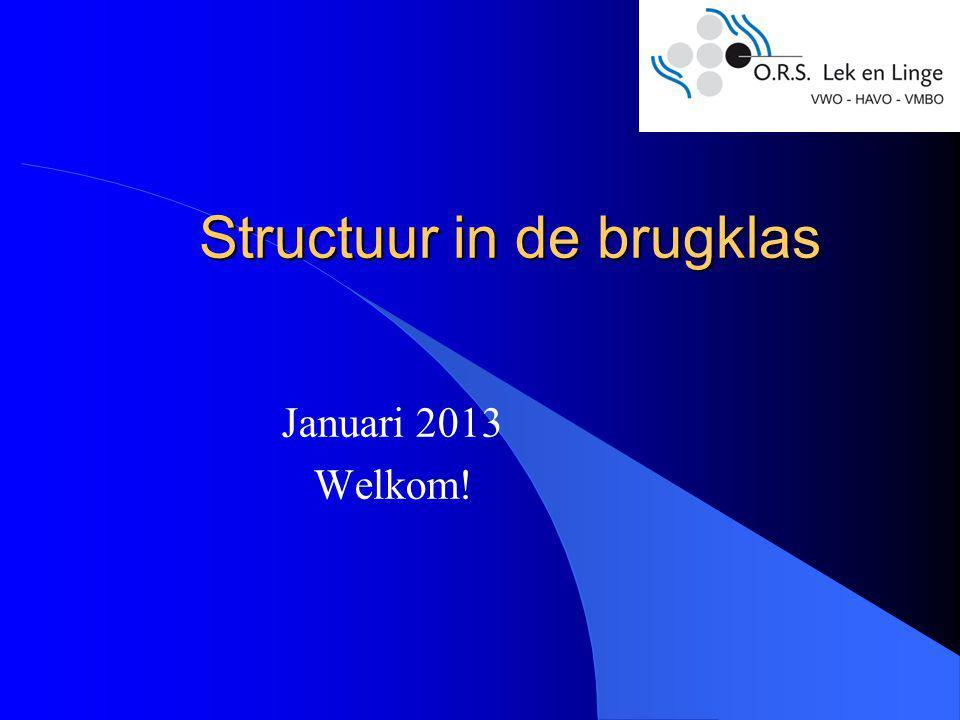 Structuur in de brugklas Januari 2013 Welkom!