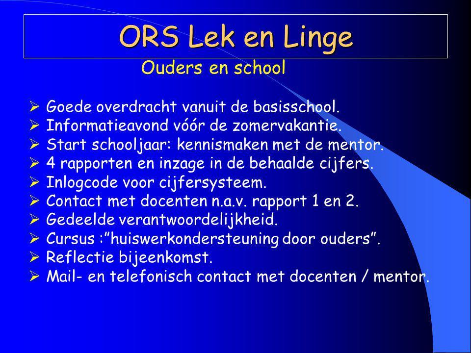 ORS Lek en Linge Ouders en school  Goede overdracht vanuit de basisschool.