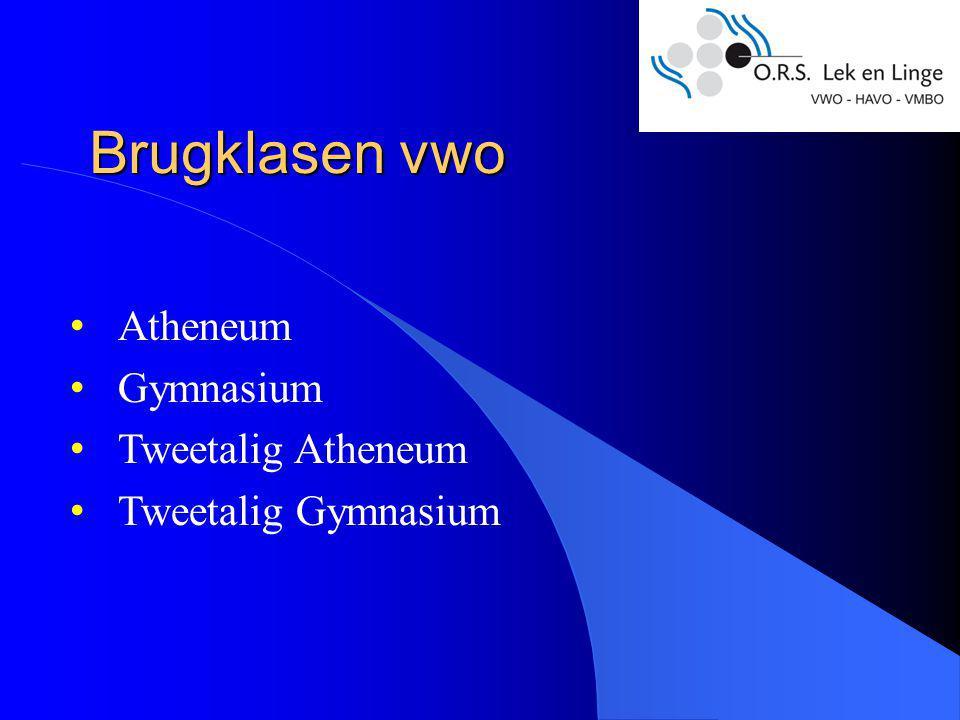 Brugklasen vwo Atheneum Gymnasium Tweetalig Atheneum Tweetalig Gymnasium
