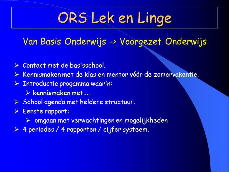 ORS Lek en Linge Van Basis Onderwijs -> Voorgezet Onderwijs  Contact met de basisschool.