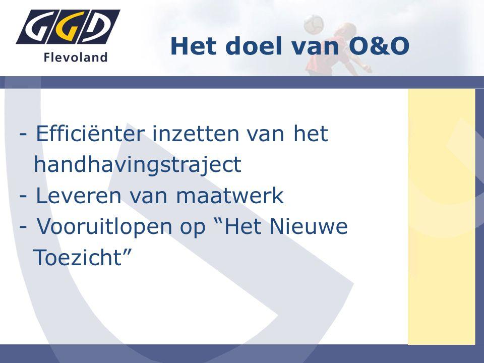 Het doel van O&O - Efficiënter inzetten van het handhavingstraject - Leveren van maatwerk -Vooruitlopen op Het Nieuwe Toezicht