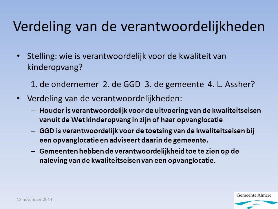12 november 2014 Verdeling van de verantwoordelijkheden Stelling: wie is verantwoordelijk voor de kwaliteit van kinderopvang.
