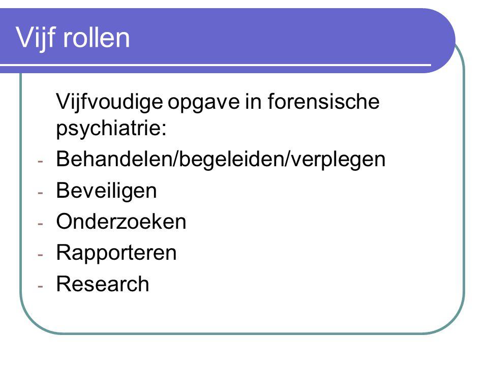 Vijf rollen Vijfvoudige opgave in forensische psychiatrie: - Behandelen/begeleiden/verplegen - Beveiligen - Onderzoeken - Rapporteren - Research
