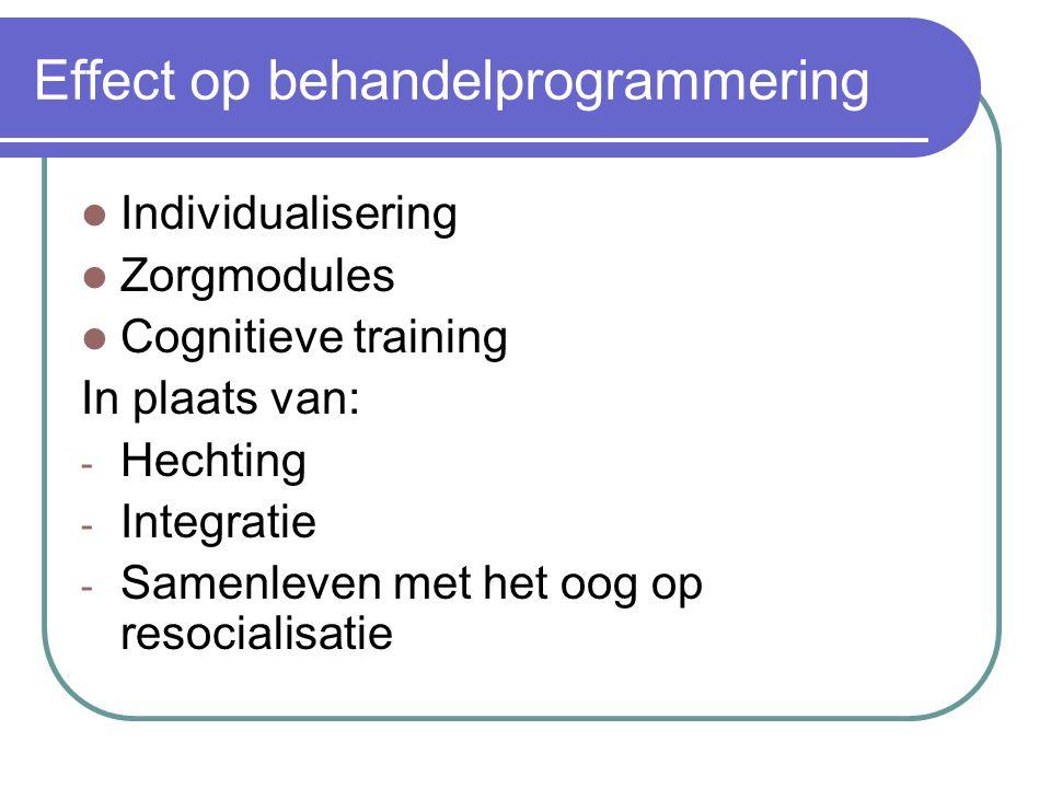 Effect op behandelprogrammering Individualisering Zorgmodules Cognitieve training In plaats van: - Hechting - Integratie - Samenleven met het oog op r